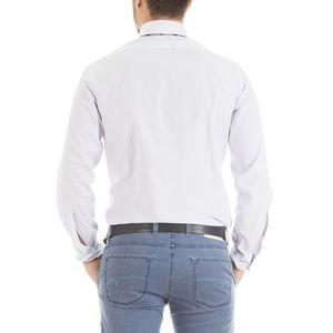Half French collar striped shirt