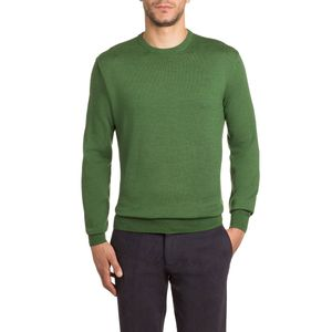 Solid color merino wool crewneck pullover