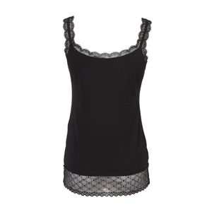 Black cotton tank top with lace