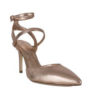 Sandalo metallizzato con cinturino alla caviglia