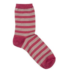 Red striped socks in linen blend