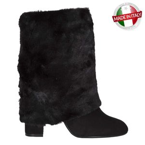 Black suede and fur boot