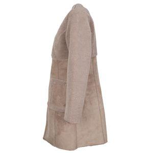 Cappotto scamosciato in eco-pelle ed eco-pelliccia