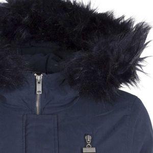 Hooded jacket in faux fur
