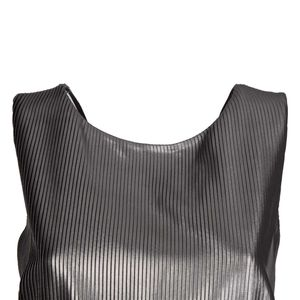 Amnesia silver laminated effect long dress with V-neck on the back