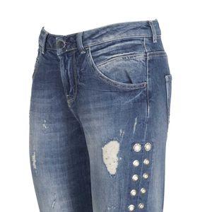 Jeans Vanille effetto destroyed con borchie