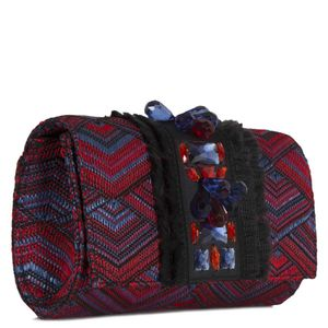 Fabric clutch bag with double front jewel