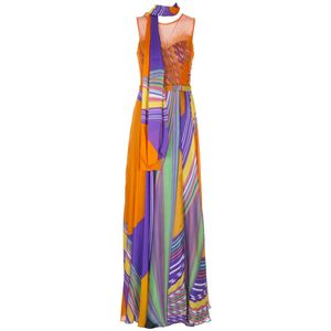 Long multicolor dress with top enriched by orange beads