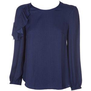 Candoi blue blouse with ruffles
