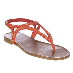 Thong sandal with braid texture