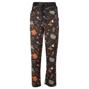 Orange floral trousers with double waistband