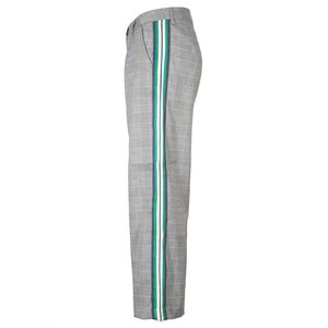 Saltillo gray trousers in Prince of Wales with green bands