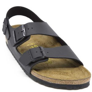 Sandal with double buckle and strap on the heel