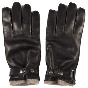 Black leather and cashmere gloves