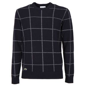 Blue crewneck pullover with checked pattern