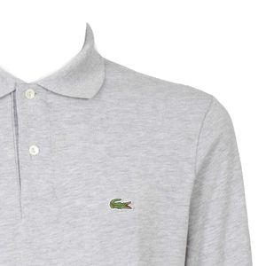 Polo with long sleeves in petit piqu√ ©