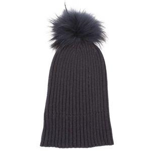 Cuffia lunga in lana con pompon di volpe