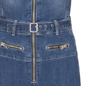 Salopette in jeans regolabile con zip e cintura