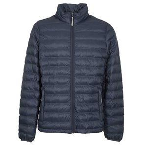 Long-sleeved packable dark blue down jacket