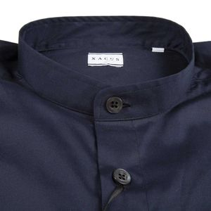 Blue shirt in cotton satin with mandarin collar