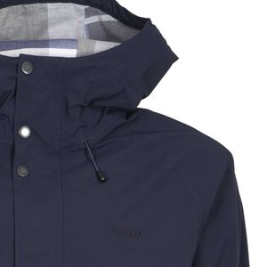 Breathable blue jacket with checked lining