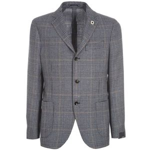 Informal single-breasted jacket with check pattern