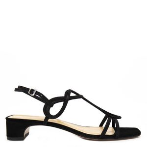 Sandal in real leather and suede fabric