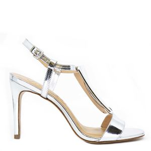 Silver sandal with side closure