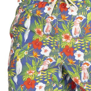 Blue sea boxer costume with floral pattern