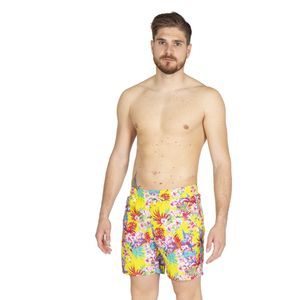 Yellow swimsuit with floral pattern