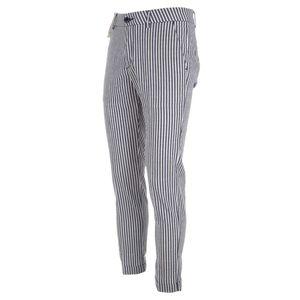 Pantaloni chinos a righe bianche e blu
