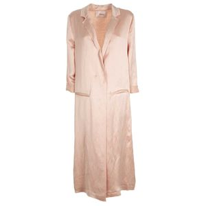 Long pink jacket with unstitched effect