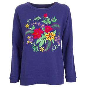 Purple sweatshirt with floral embroidery