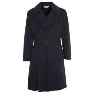 Navy blue trench coat in heavy cotton
