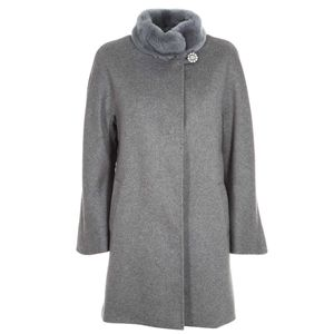 Gray coat with jewel