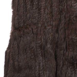 Gilet in pelliccia marrone con cappuccio