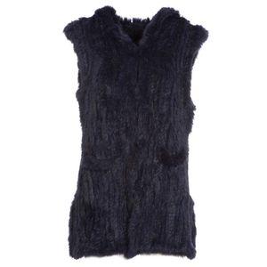 Gilet in pelliccia blu con cappuccio