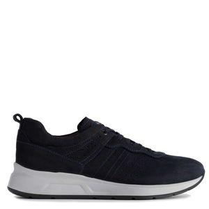 Sneakers in morbida pelle con suola in contrasto