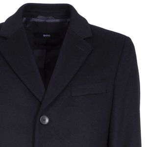 Long solid color coat in wool