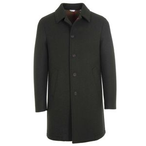 Long solid color coat with buttons