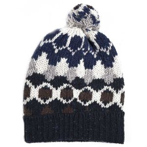 Pure wool jacquard hat and pompom