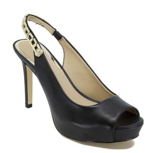 Sandalo open-toe in pelle con tacco