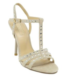 Suede sandal with shiny studs