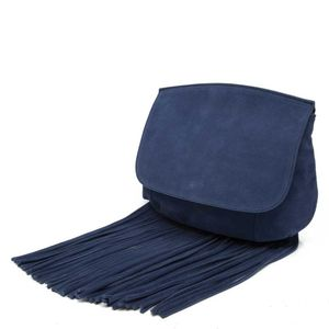 Suede leather bag with maxi fringes