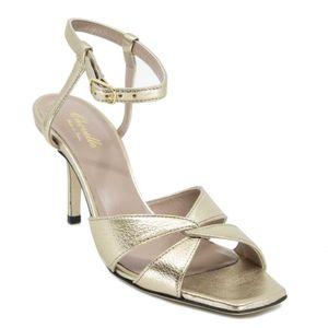 Metallic Valeria heel sandal