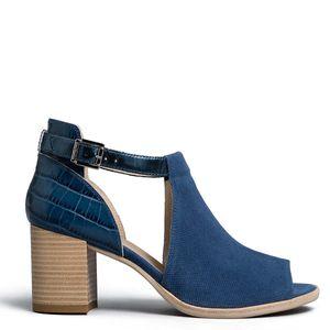 Velor sandal with crocodile effect heel