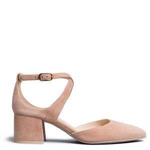 Suede sandal with cross at the ankle