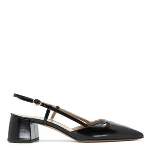 Black leather sandal with heart holes