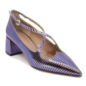 Blue and copper striped sandal