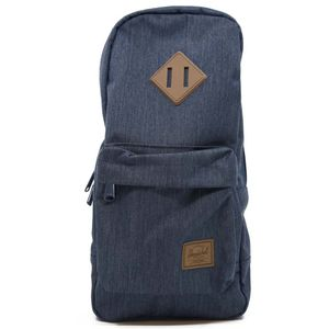 Heritage shoulder backpack in navy and brown
